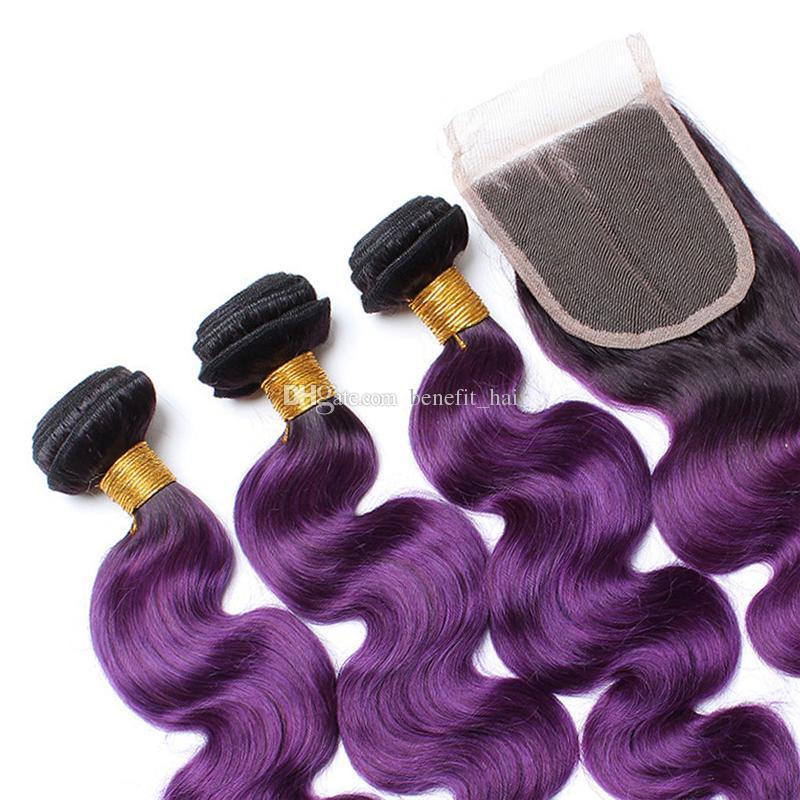 Ombre Farbe # 1B Lila Haar Schuss Mit Spitzeschluss 4x4 Brasilianische Körperwelle 3 Bundles Reine Haarwebarten Mit Verschluss