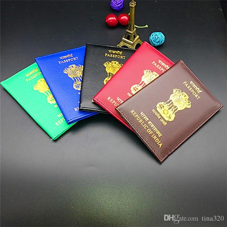 291b340f72468 Großhandel Heißer Verkauf 5 Farben Mode Indien Reisepass Set PU  Passinhabers Kreative Passdecke T3D0179 Von Tina320