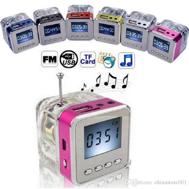 Mini Radio FM Barato Buen Altavoz Portátil Tarjeta Micro SD Reproductor de Música MP3 Reproductor de Sonidos Caja LED Reloj de pantalla