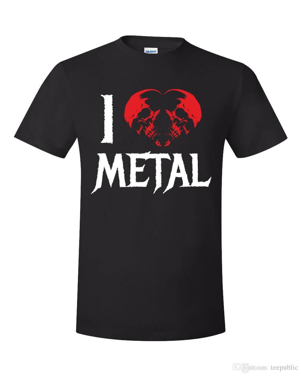 I Love Metal Music Shirt Valentine's Day Skull Heart Evil Concert Heavy Rock Short Sleeve Cotton T Shirts Man Clothing
