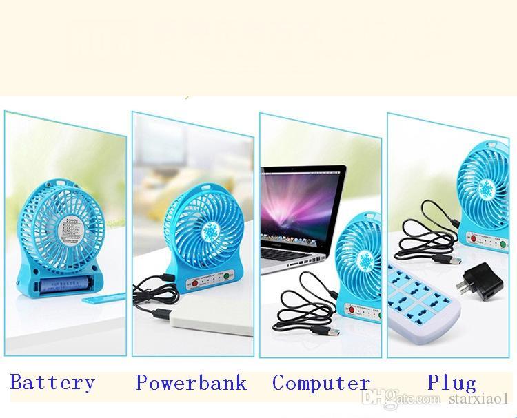 Ventola ricaricabile batterie ricaricabili 18650 ricaricabili scrivania con mini ventilatore da tavolo ricaricabile a LED ricaricabile con pacchetto di vendita al dettaglio PC laptop