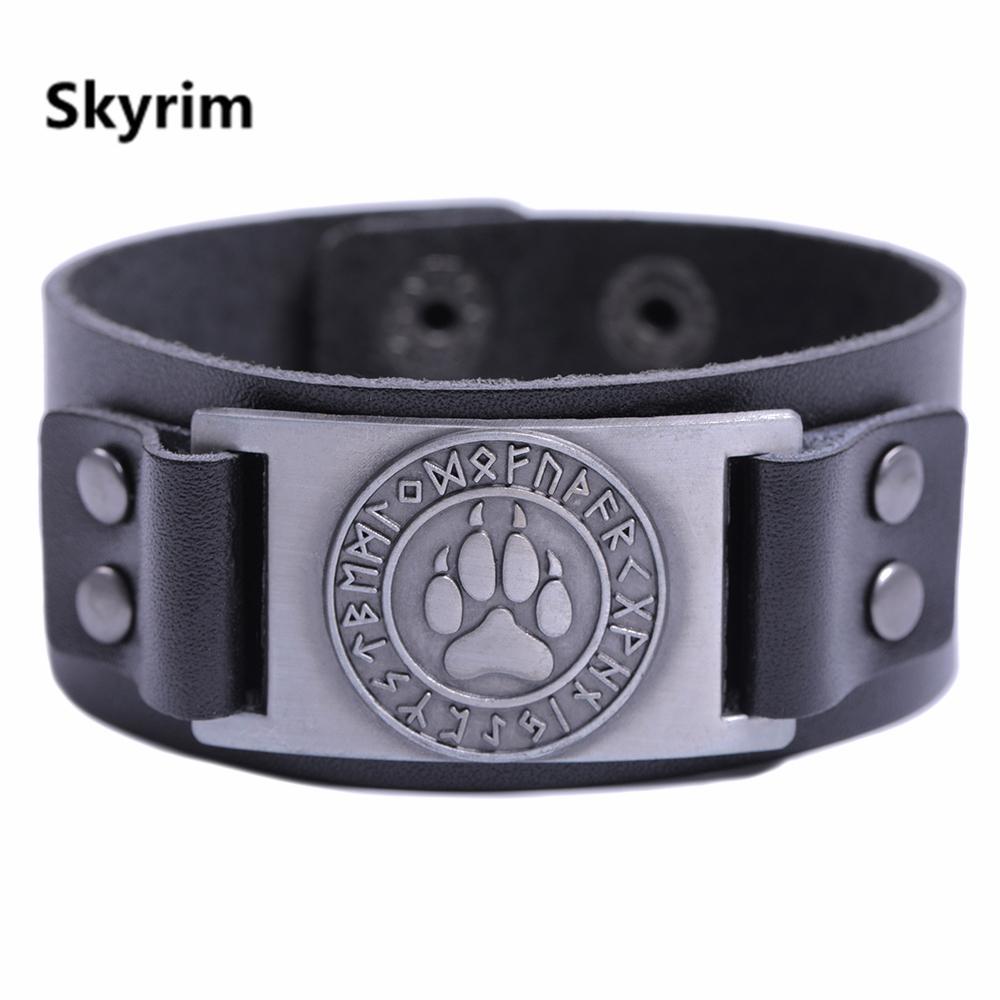 0e4300be4dea Skyrim pulsera vintage ajustable de cuero pulsera ancha pulsera oso vikingo  de la pata del oso hombres brazaletes de cuero