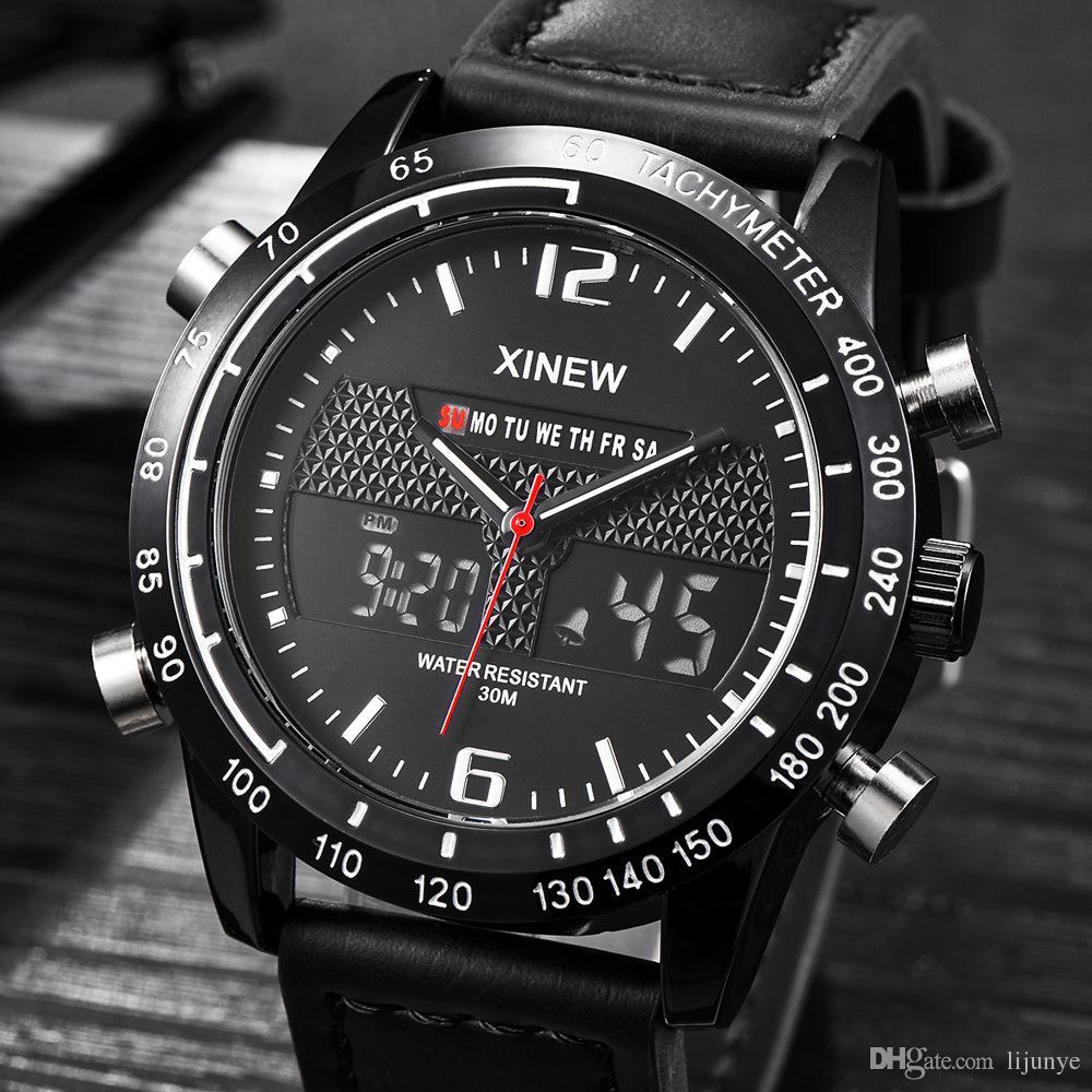 Il migliore regalo dell'orologio di Digital di tempo doppio di sport della fascia di cuoio degli orologi degli uomini di qualità superiore 2018 libera il trasporto.