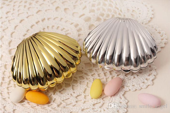Yeni Kabuk Şekilli Kutu Düğün Parti Iyilik Kutuları Plastik Katı Altın Şerit Renk Şeker Paket Hediye Kutuları 2018 Yeni Sıcak Satış