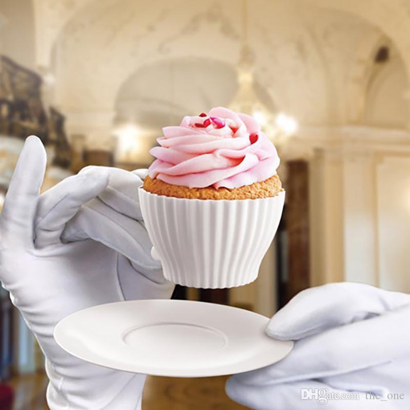 8 adet bir Set Silikon Cupcake Kek Kalıp Pişirme Eğlenceli Parti Kek Muffin Kalıp Bakeware Maker Kalıp Tepsi Pişirme Bardak Astar Pişirme Kalıpları