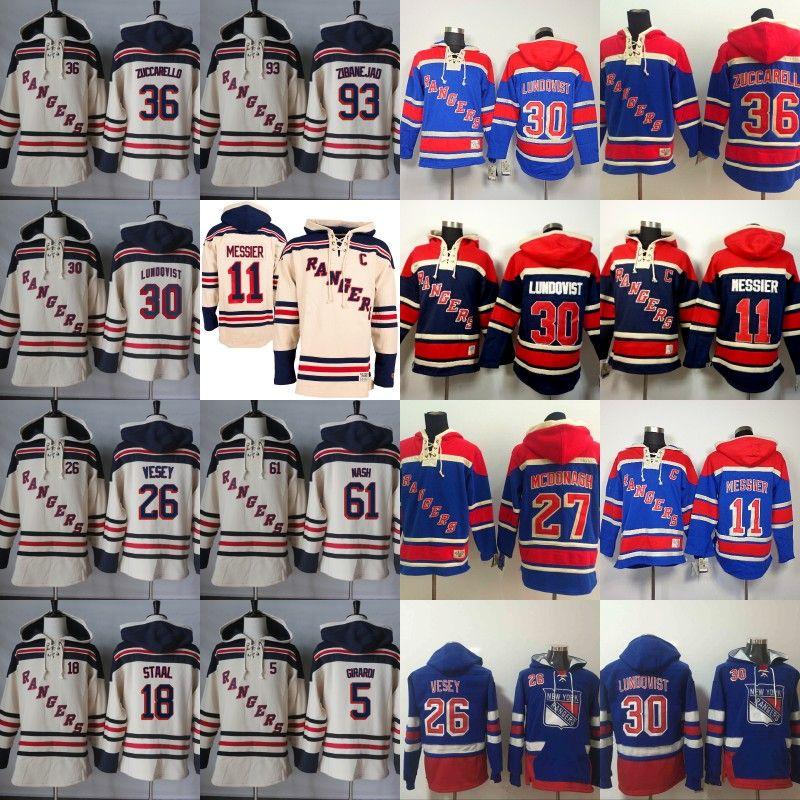 brand new 13d82 7cac0 New York Rangers Hoodies Jersey 11 Mark Messier 26 Jimmy Vesey 30 Henrik  Lundqvist 36 Mats Zuccarello 61 Rick Nash 93 Mika Zibanejad Jerseys