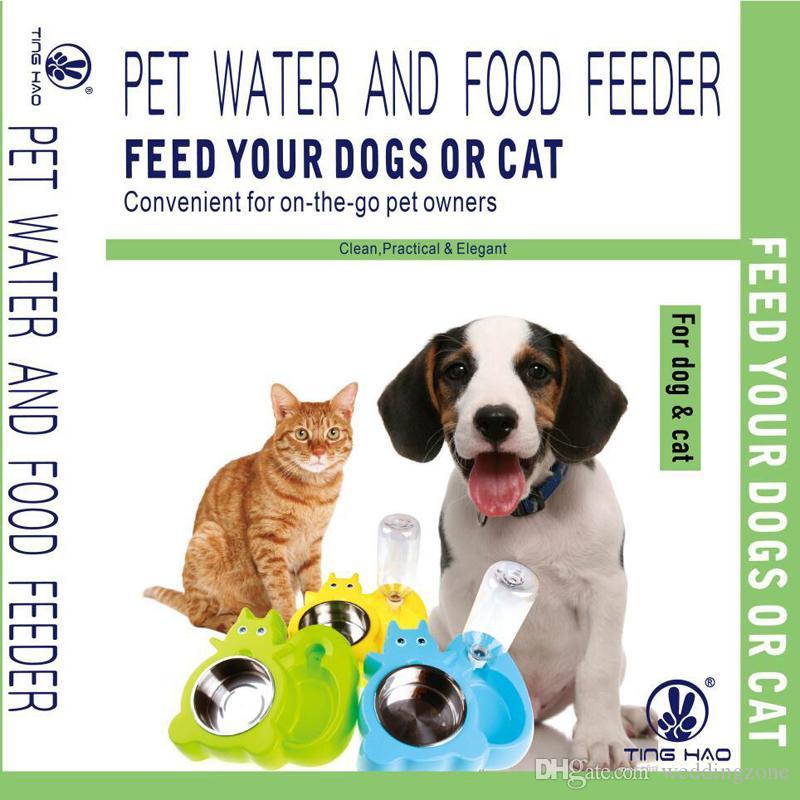 Protable Funcional Aço Inoxidável pet food e alimentador de alimentos para animais de estimação tigela de água automática Com pacote de Papel de Varejo