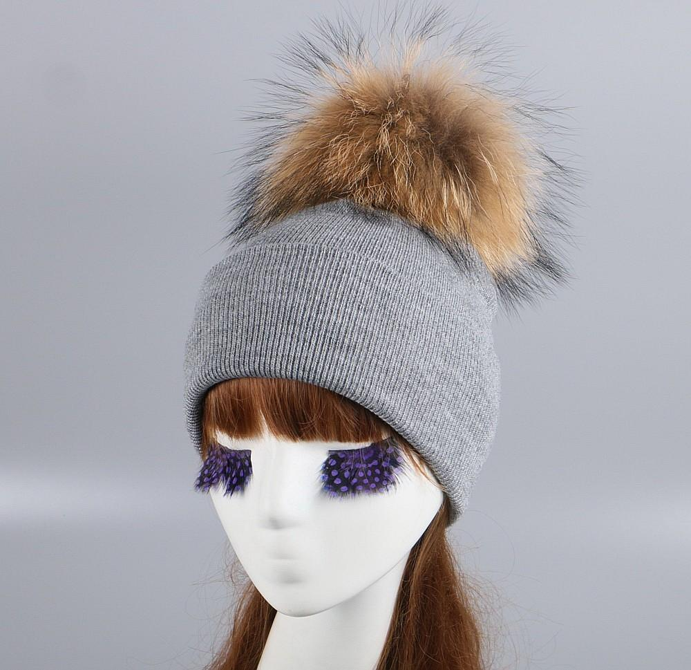 c2a07aaeb62e3d Women Brand Fur Pompom Winter Hat Cap Mix Colorful Knitted Casual Large  Size Ball Beanies Girl Woman Beauty Animal Fox Skullies D18110601 Mens  Beanies ...
