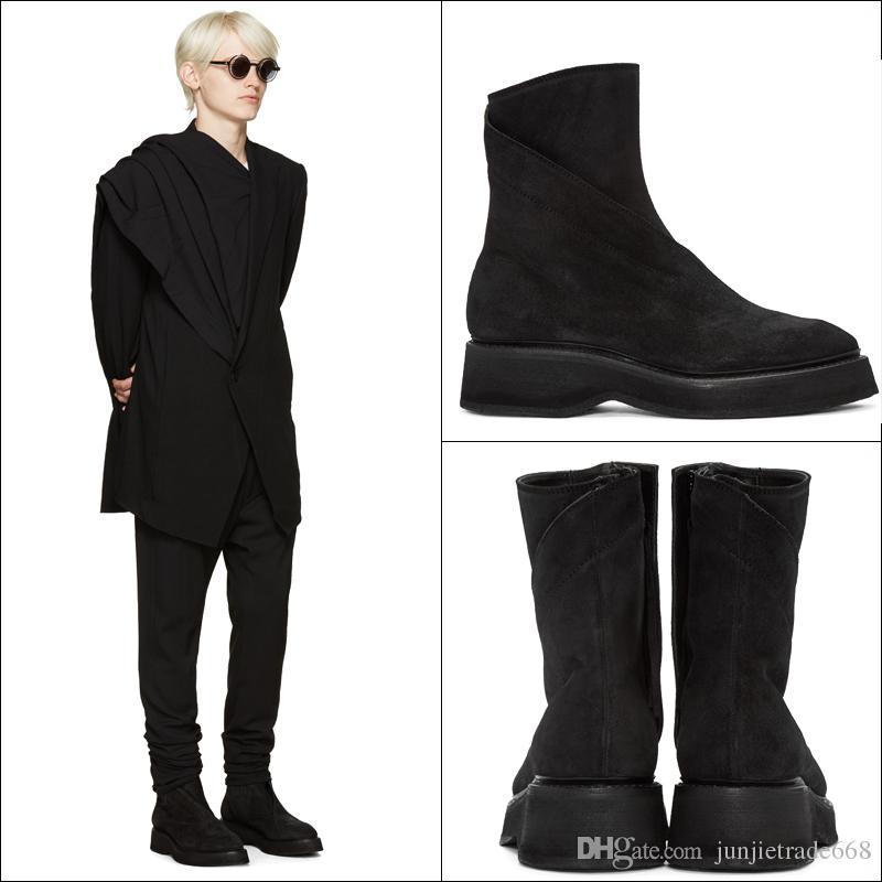 2018 handmade vintage retro genuine leather suede Roma personalize martin boots England round toe platform owen zipper boots