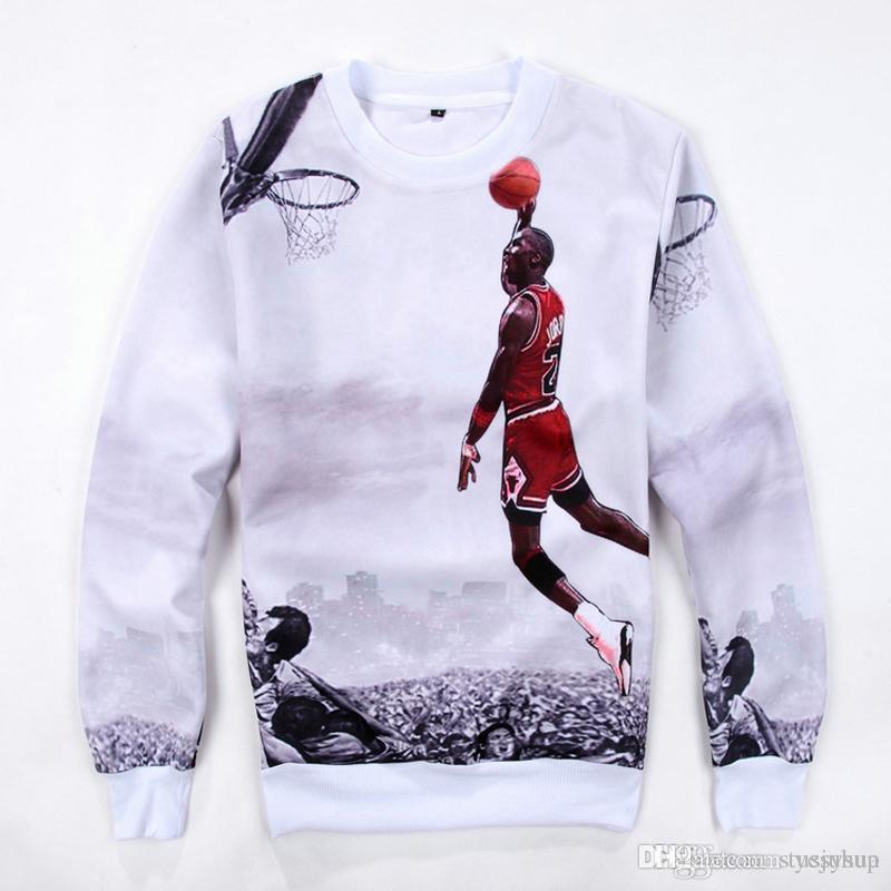 código promocional e3102 95640 Sudaderas con capucha de los deportes de los hombres Michael Basketball  Superstar 3D impresión sudaderas con capucha de moda Casual cuello redondo  ...