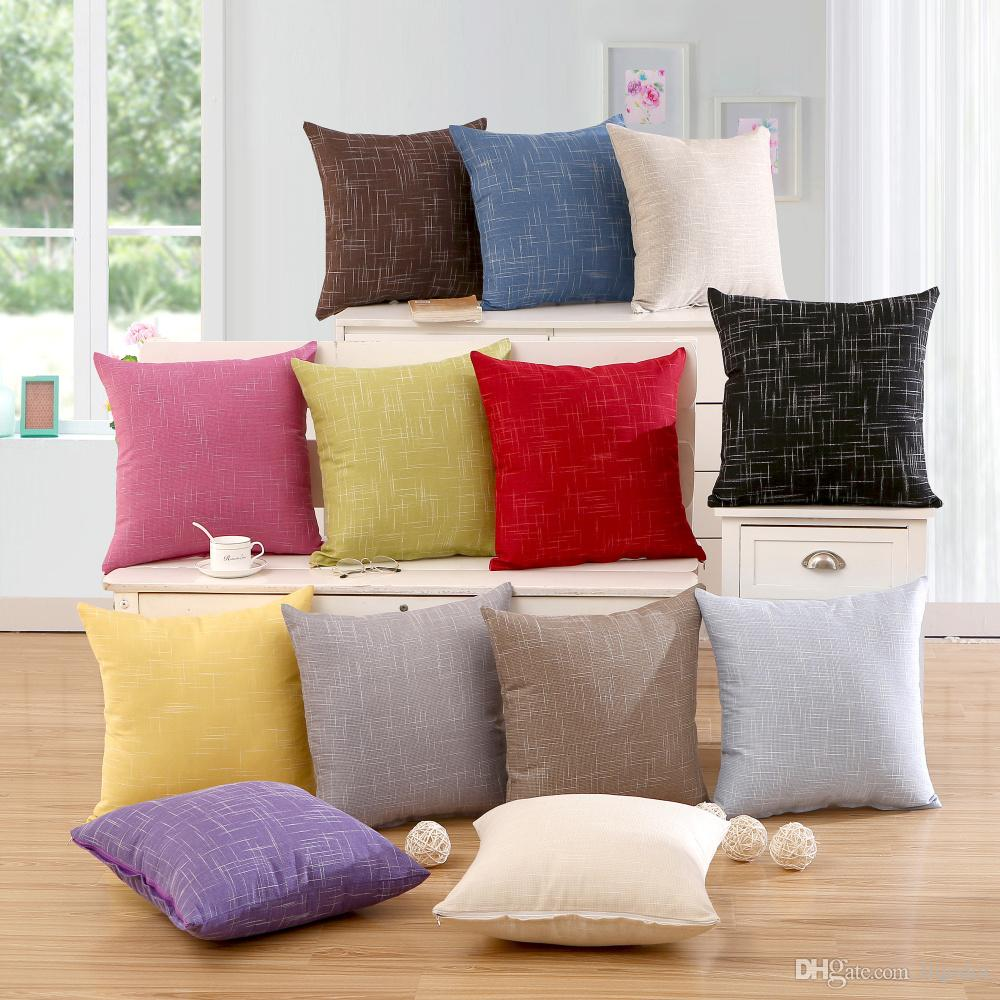 Simple Solid Pillow Cover Cotton Linen Plain Pillowcases Decorative Living  Room Cushion Covers For Sofa Home Car Patio Cushion Set Outdoor Chair  Cushions On ...