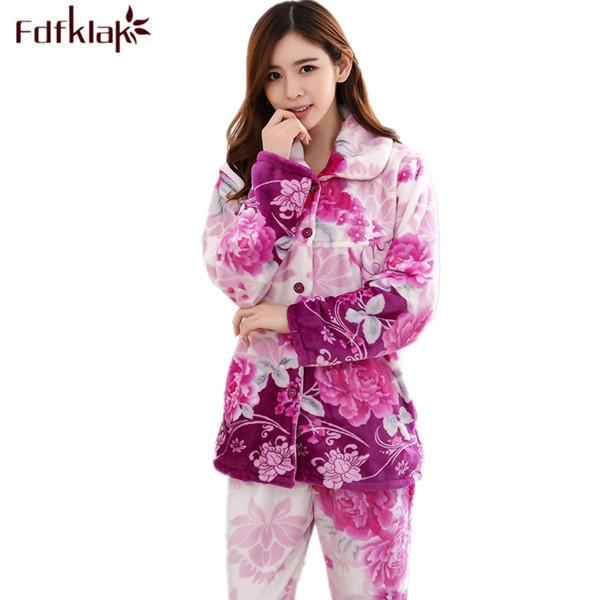 cca883c41d Fdfklak Womens Sleepwear Pajama Set Flannel Print Winter Pijama Family Pajama  Set Warm Suit Women Plus Size L XL XXL 3XL Q516 D18110502
