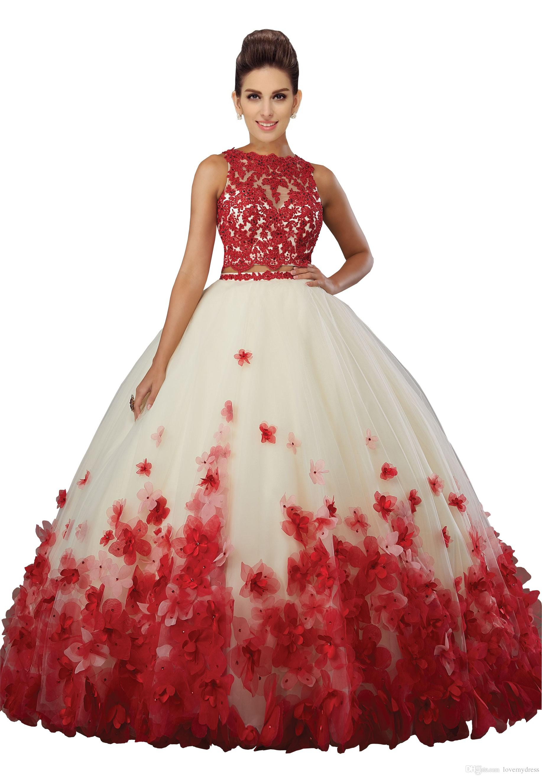 Fashion Two Pieces Quinceanera Prom Dresses Cheap 2019 New Stylish 3D Floral Flowers Sheer Jewel Neck Applique Red Lace Bead Sweet 16 Dress