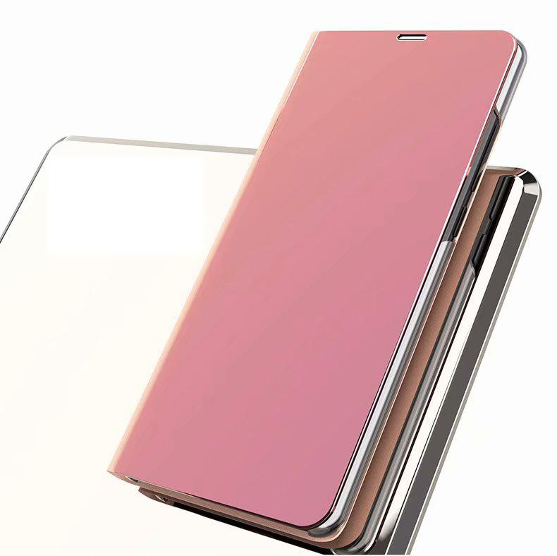 For Galaxy A5 A7 A8 Plus A6 J6 2018 Luxury Mirror Wallet Official Case Flip Leather Plating Bling Phone Smart Window Metallic Chromed PC