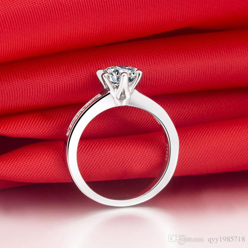프로 모션 라운드 컷 여성을위한 합성 다이아몬드 결혼 반지 925은 반지 PT950 우표 화이트 골드 약혼 반지를 Bague Femme