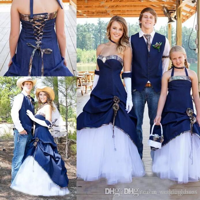 compre Últimos 2018 país vaquero vestidos de novia de camuflaje blue