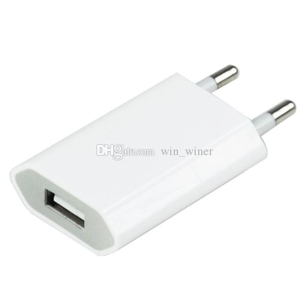 Color blanco Enchufe de la UE Adaptador de cargador de pared de CA de la corriente de casa USB para IPod para IPhone 3 4 5 6 7 7 plus