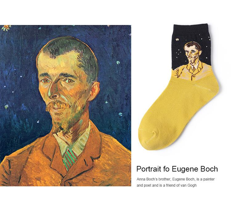 Retro Oil Painting Pattern Sock New European And American Hose Spring And Summer Ogenbock Portrait Pure Cotton Socks