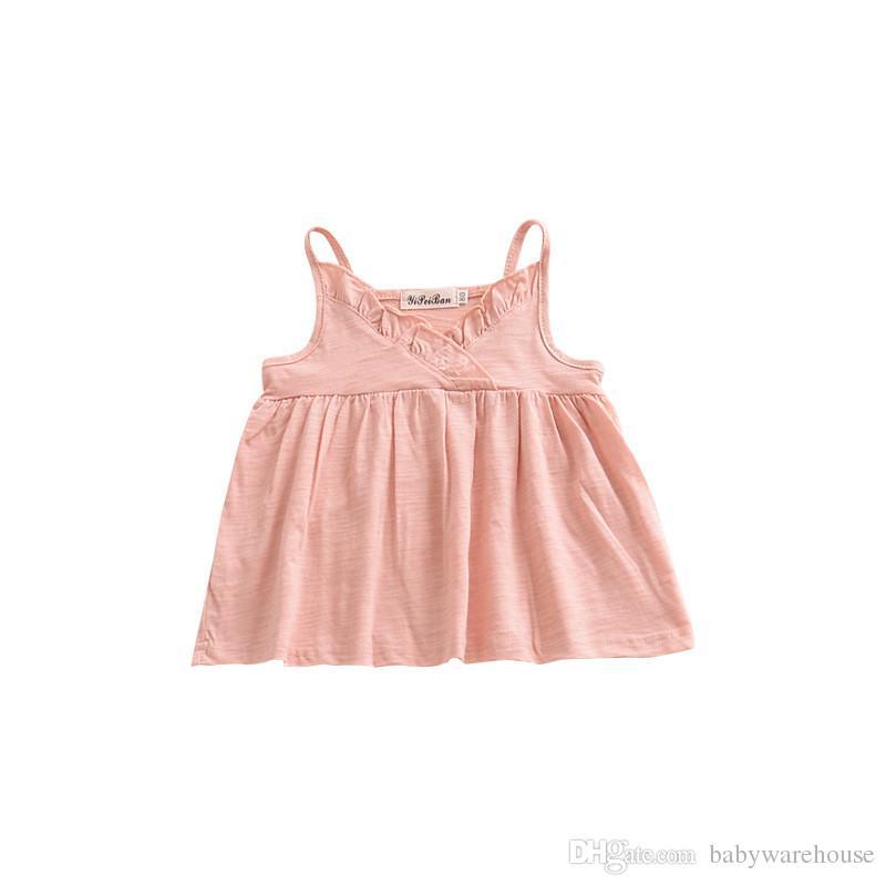 2018 nouvelles filles vêtements bébé robe de glissement belle été volants bébé filles robes occasionnels coton filles vêtements enfant en bas âge fille tops enfants vêtements