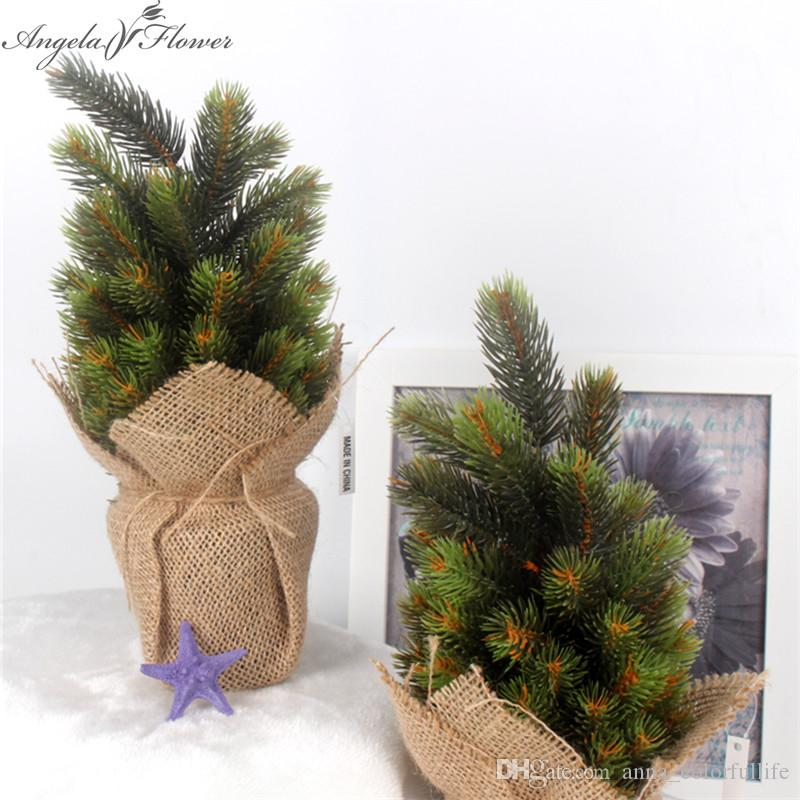 Artificial Christmas Tree Green Plant With Vase And Linen Simulation