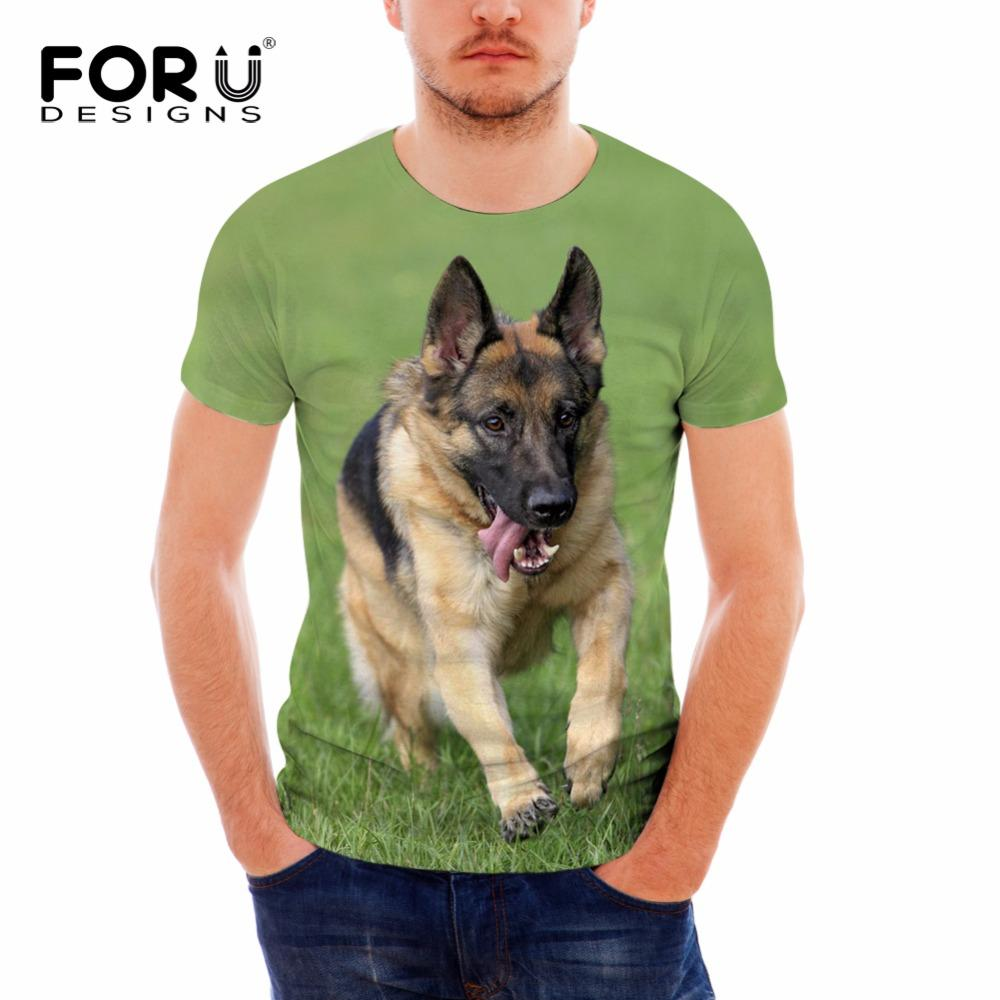 FORUDESIGNS Cute 3D Dog German Shepherd Pattern Men Summer T Shirts Fitness  Short Sleeve Tops Tee Clothes Boy T-shirts Plus Size