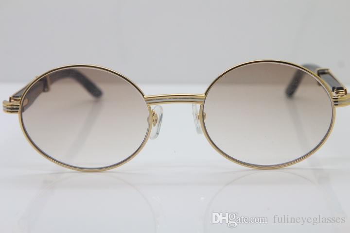 18k Gold Black Buffalo Horn Glasses Men 7550178 Round Metal Sunglasses brand designer wholesale Sunglasses Size:57-22-135mm