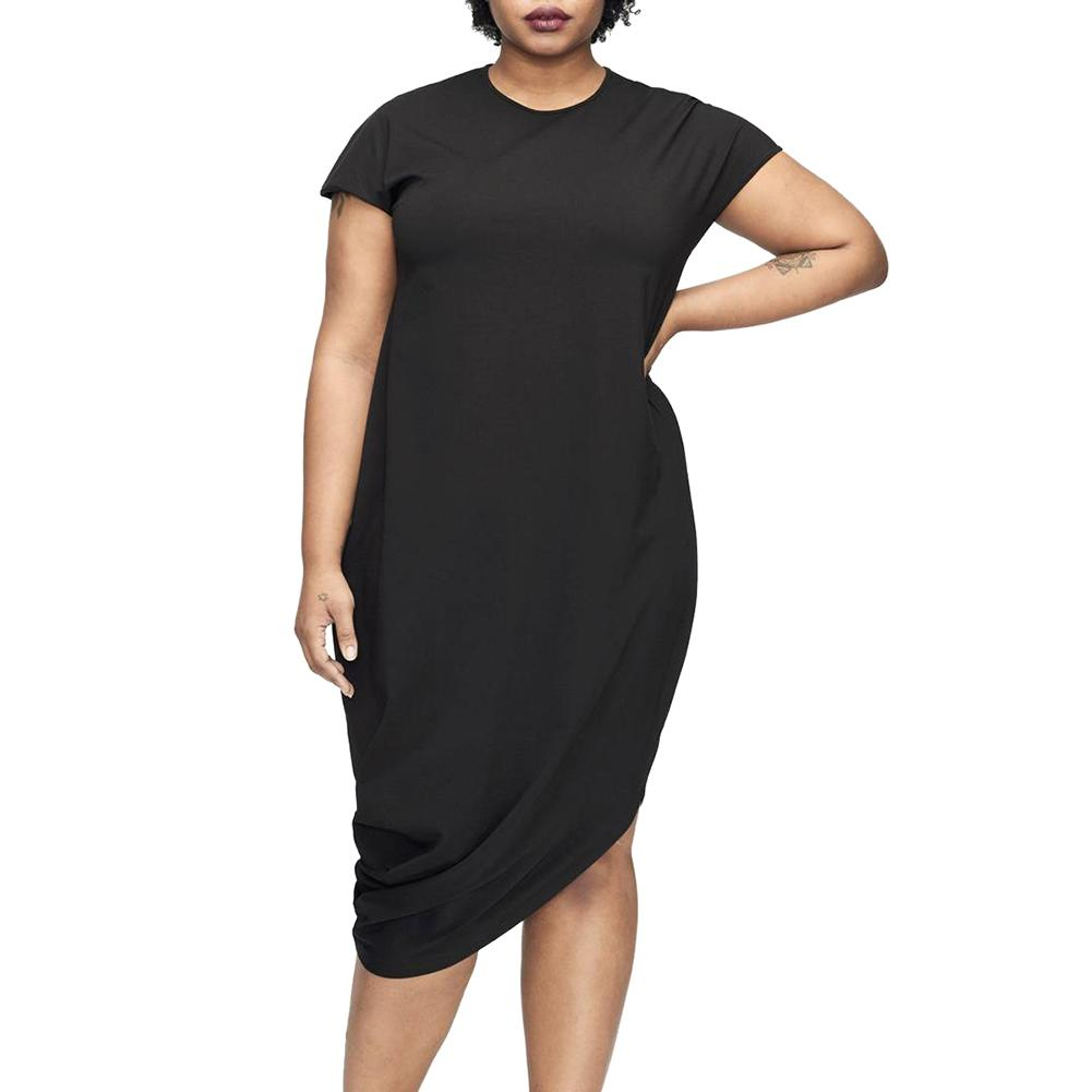 c79dc22b11bd 2019 Fashion Women Plus Size Dress XXXL Solid O Neck Short Sleeve T Shirt  Dress Irregular Hem Loose Dress Blue Black Ropa Green Dresses For Teens  Womens ...
