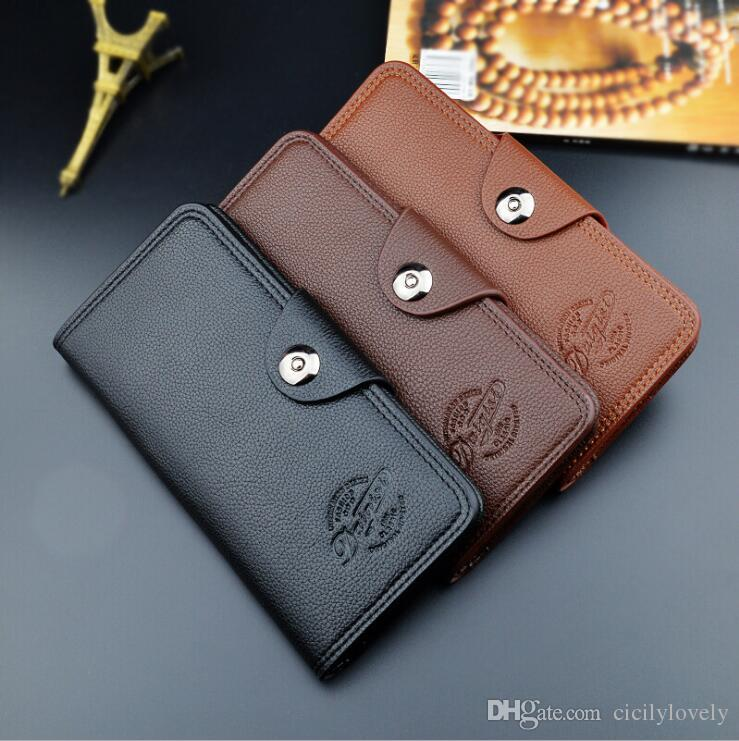 2018 high quality oil wax men's leather wallet, leisure retro long wallet, large capacity multi-card, hand bag free shipping 3 color