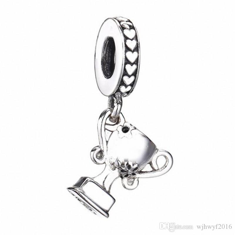 Mother Day Gift Authentic 925 Sterling Silver Bead Achivement Trophy Pendant Charm Fit Original Women Pandora Bracelet Bangle DIY Jewelry