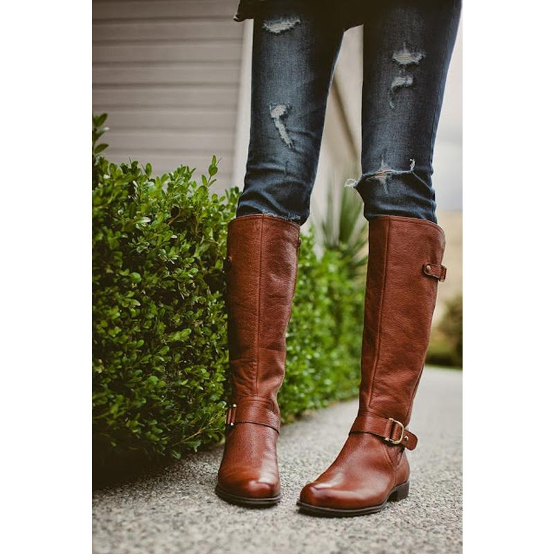78bfb1a4bde9 Fashion Women Boots Lace Up Riding Motorcycle Boots Low Heel Knee High  Buckle Side Zipper Female Botas Brown 43 Brown Boots Winter Boots For Women  From ...
