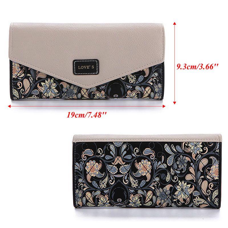 Lady Handbag Envelope Women Wallet Hit Color 3Fold Flowers Printing PU Leather Wallet Long Ladies Clutch Coin Purse