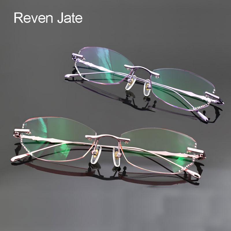 8260801ef0d 2019 Reven Jate Reven Glasses Female Eyewear Alloy Rimless Eyeglasses Frame  Rimless Glasses Uncut Edge Women Frame From Lbdwatches