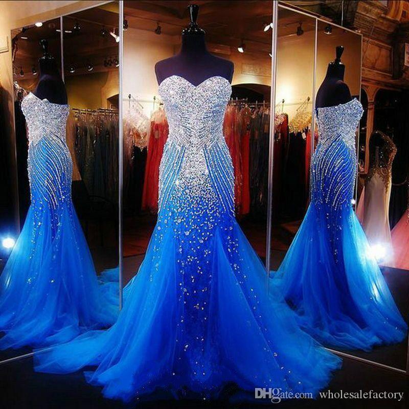 Luxury Ocean Blue Strapless Beaded Mermaid Long Prom Dresses Tulle Crystals Sweep Formal Party Evening Dresses 2018