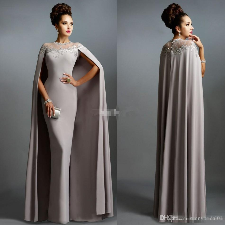 7db6dc42e5901 Sexy Formal Celebrity Dresses 2018 Elie Saab Cape Vintage Evening Gowns  Grey Pleated Ruffles Lace Sheer Neckline Cheap Sheer Prom Dresses