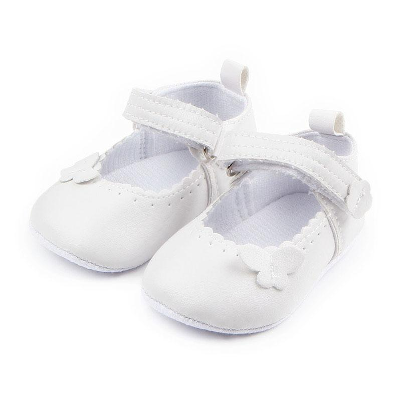 Newborn Baby Girl Christening Crib Shoes Soft Sole White Butterfly Flats Shoes