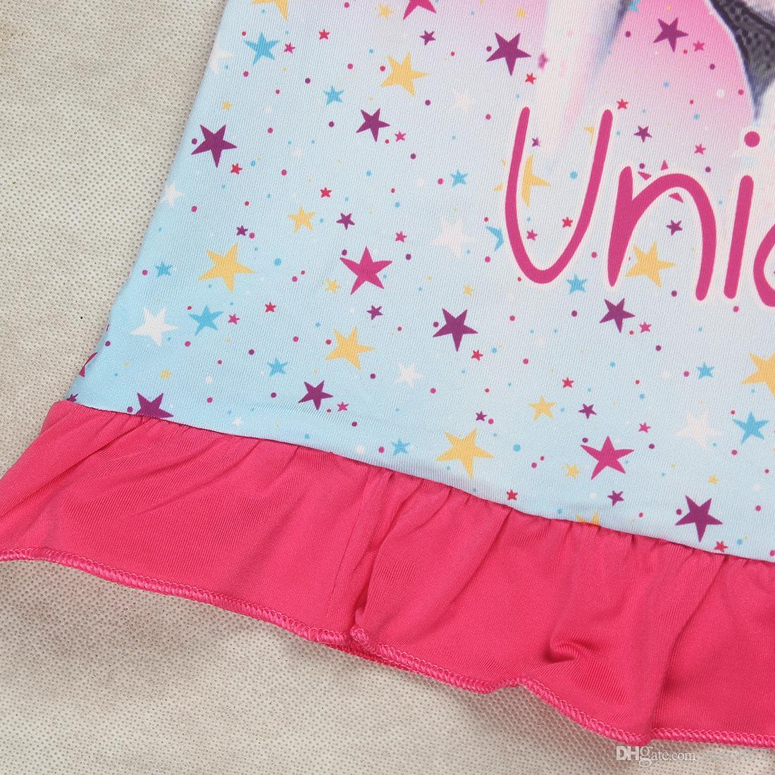 unicorn little girl dress cartoon anime horse cotton dresses for 4-10years girls kids children Summer outerwear clothes
