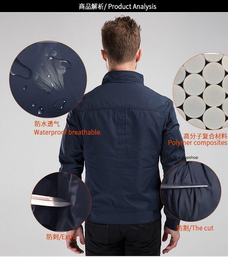 Multi-function spring jacket style hack resistant anti-cutting punctureproof safety security protector for man adult