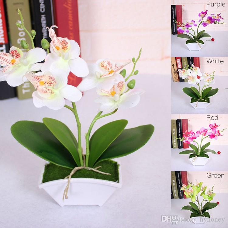 Artificial Butterfly Orchid Flower Vase Set Real Touch Leaves