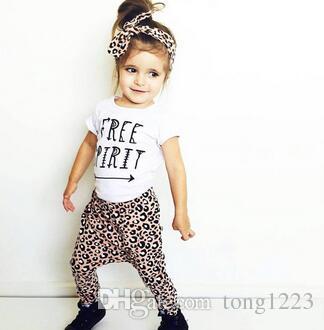 548ee623d72ea Acheter Été Bébé Fille Léopard Vêtements Mode Coton T Shirt + Pantalon +  Bandeau Enfants Enfant En Bas Âge Costume Nouveau Né Bébé Filles Vêtements  De ...
