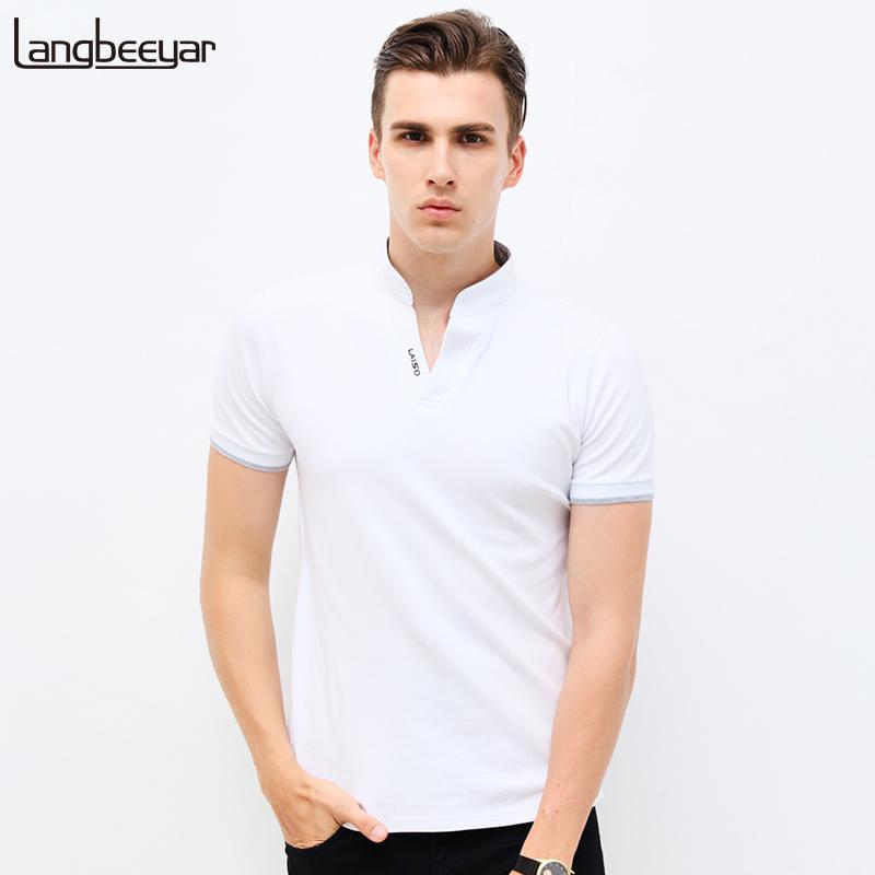 a6995f175cbe44 Großhandel Heißer Verkauf 2018 Neue Sommermode Herren T Shirts V Ausschnitt  Slim Fit Kurzarm T Shirt Herren Kleidung Trend Casual T Shirt M 5XLY1882203  Von ...