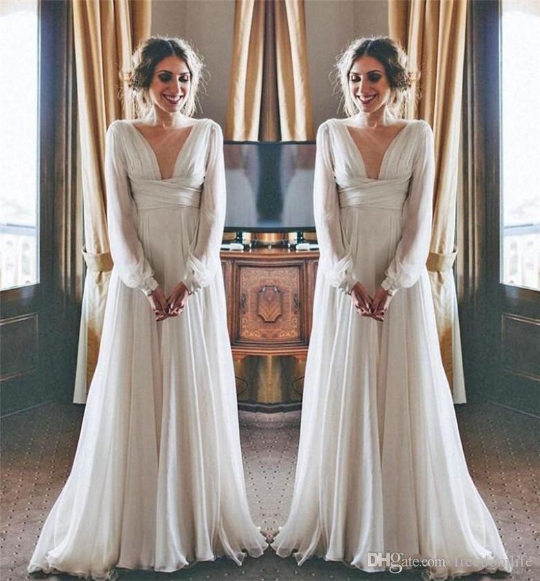 9e0fb8f478dd Discount 2018 Hippie Boho Beach Wedding Dresses Long Sleeves V Neck Plus  Size Chiffon Cheap Summer Maternity Country Greek Style Bridal Gowns Unique  Wedding ...