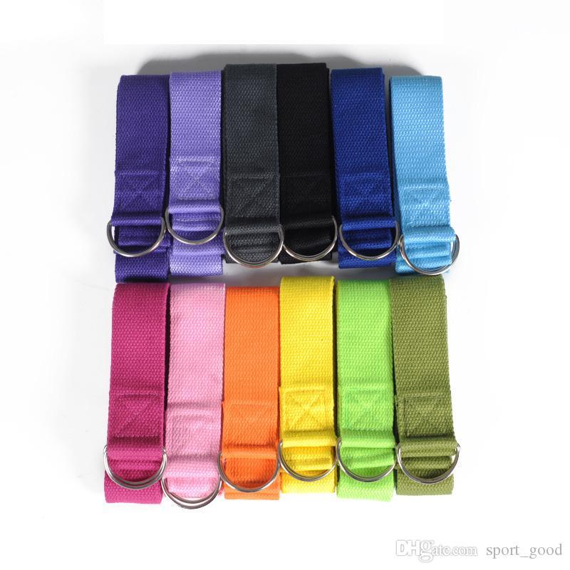 Novo Algodão Blended Poliéster Yoga Stripes Multi-cores Não-deslizamento Exercício Estiramento Cinto Yoga Straps Bandas de Yoga Com D-anel