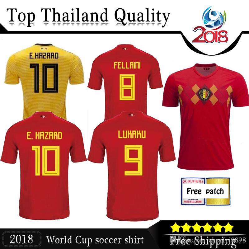 2018 Belgium World Cup Jersey LUKAKU FELLAINI HAZARD KOMPANY DE BRUYNE  MERTENS Soccer Jerseys 18 19 Belgium Thailand Quality Football Shirts  Soccer Jerseys ... 4400a16dc