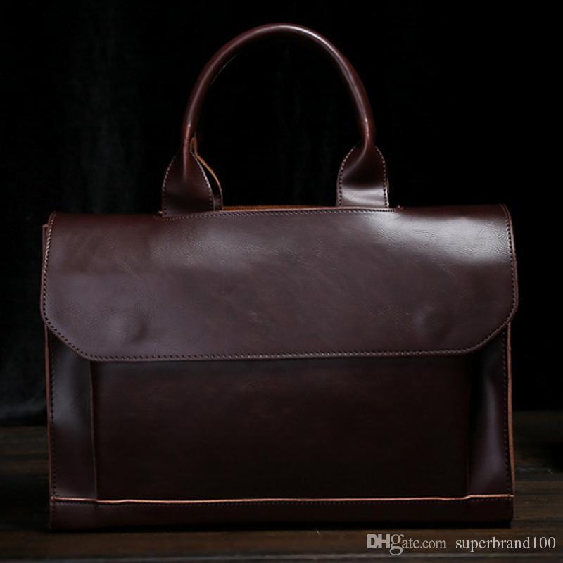 Männliche Messenger Bags Leder Schulter Messenger Business Computer Aktentasche 13-Zoll-Laptop-Tasche Vintage Muti-Funktion Handtaschen