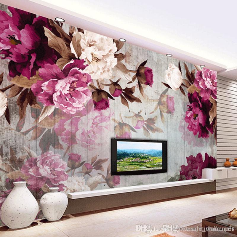 Großhandel Benutzerdefinierte Wandbild Tapete Moderne Wohnzimmer TV ...