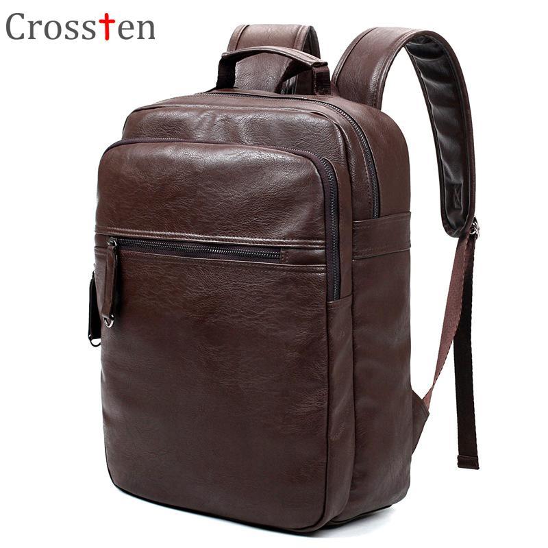 d79abc4549 Crossten Fashion Men s Top Quality PU Leather Laptop Backpack Men School Bag  Leather Male Rucksack Knapsack Bagpack Black Brown Backpacks Cheap Backpacks  ...