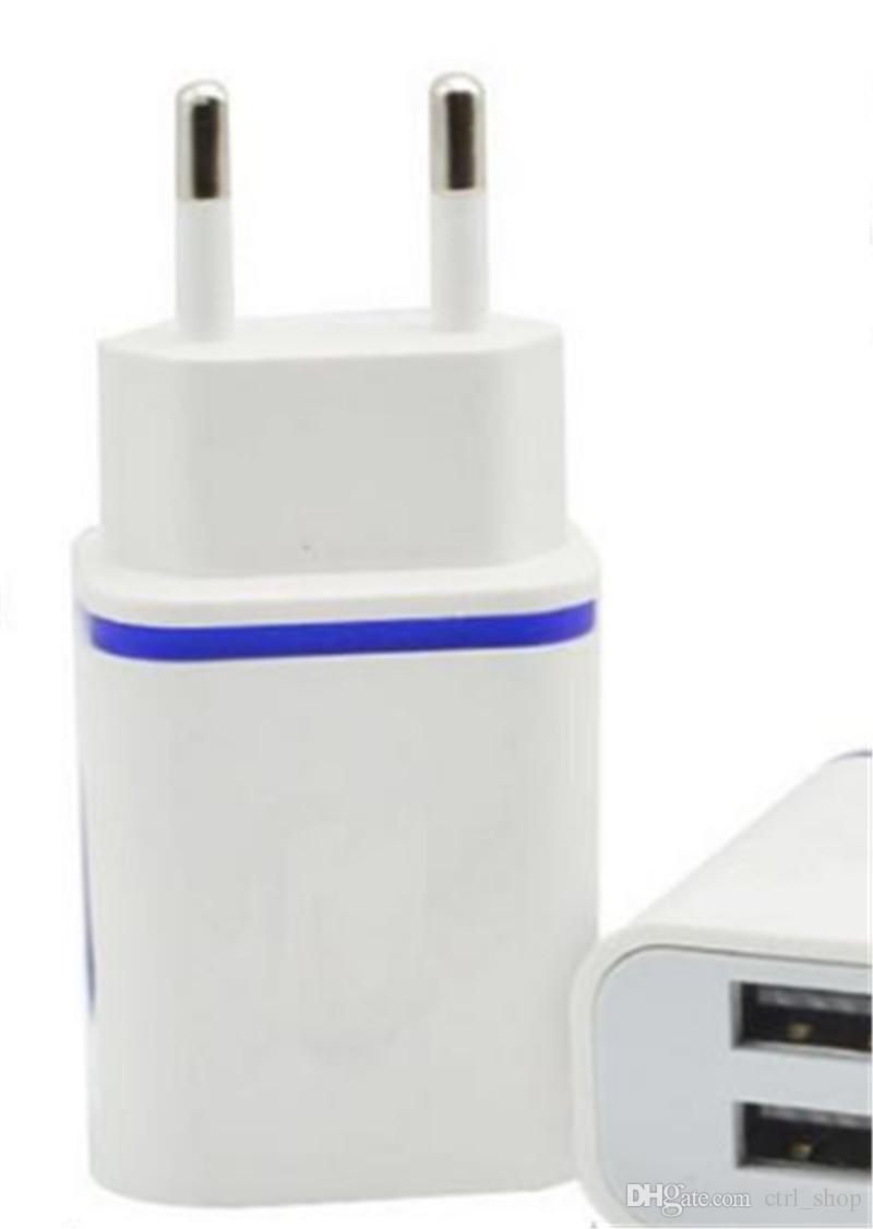 Carregador de Parede LED Dual USB 2 Portas Light Up Water-drop Adaptador De Viagem De Viagem Em Casa AC EUA Plug UE Para iPhone Samsung LG HTC Tablet telefone