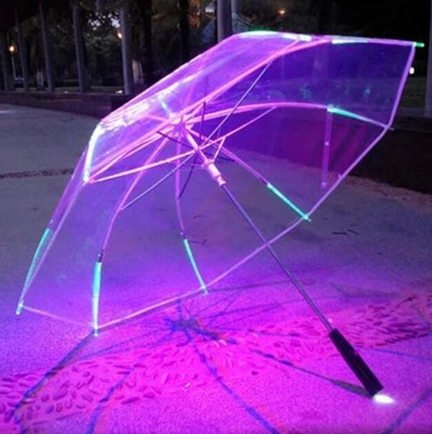 LED Luminous Transparent Umbrella Changing Color Flashlight Light up Rain Umbrella Kids Women with Flashlight For Friends Best Gift nt