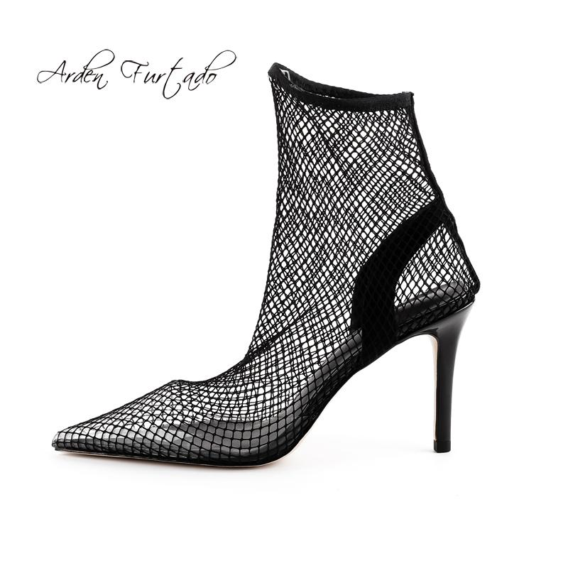 38c928a42cc 2018 Sexy Summer Boots High Heels 9cm Stilettos Pointed Toe Mesh ...