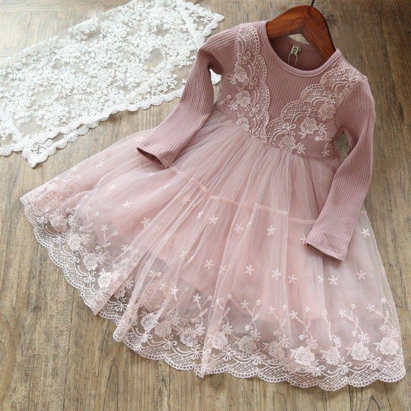 Girls Spring Autumn dress Kids Princess Tutu Ruffles Party Dress Candy Pink Gray Dress for 1-7years